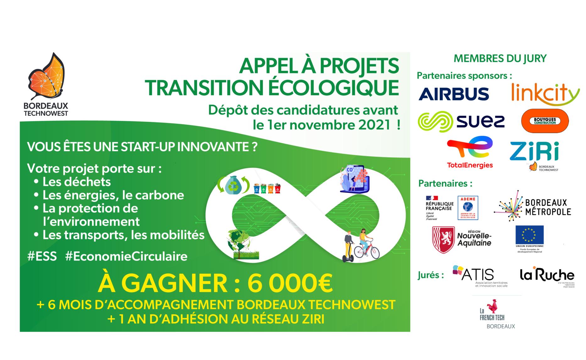 Bordeaux Technowest : Appel à projets « Transition écologique »