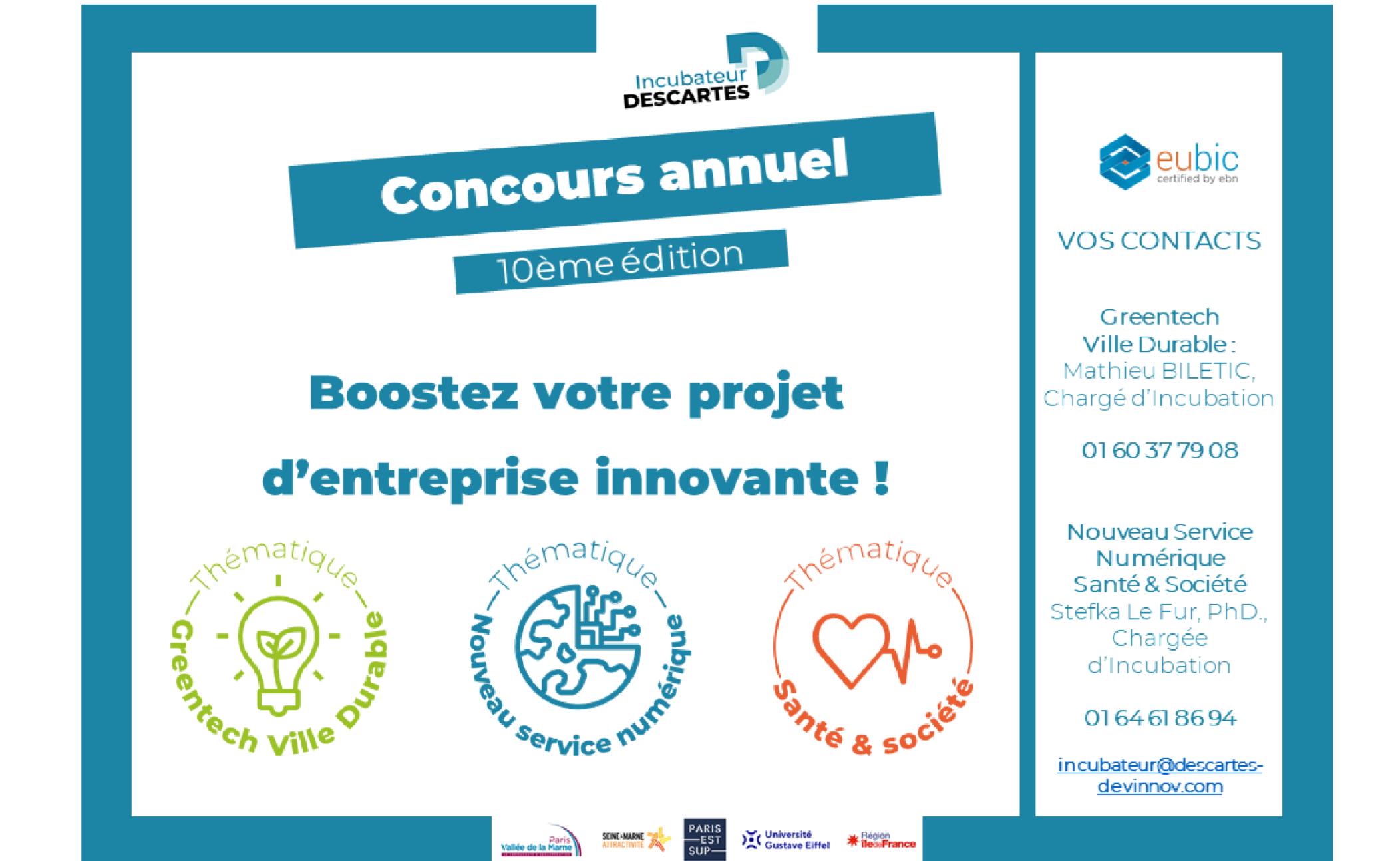Incubateur Descartes : Lancement du concours de création d'entreprises innovantes